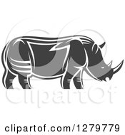 Clipart Of A Gray And White Tribal Rhino In Profile 3 Royalty Free Vector Illustration by Seamartini Graphics
