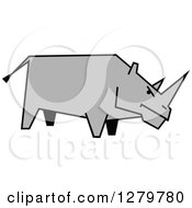 Clipart Of A Gray Sketched Rhino In Profile Royalty Free Vector Illustration by Seamartini Graphics