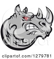 Clipart Of A Tough Red Eyed Aggressive Gray Rhino Head In Profile Royalty Free Vector Illustration by Seamartini Graphics