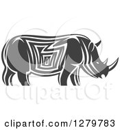 Clipart Of A Gray And White Tribal Rhino In Profile 2 Royalty Free Vector Illustration by Seamartini Graphics