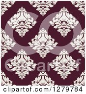 Clipart Of A Seamless Background Design Pattern Of Purple Damask Royalty Free Vector Illustration