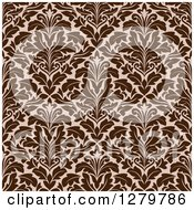 Clipart Of A Seamless Background Design Pattern Of Brown Damask 2 Royalty Free Vector Illustration