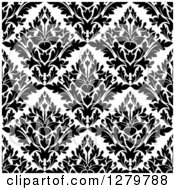 Clipart Of A Seamless Background Design Pattern Of Black And White Damask 2 Royalty Free Vector Illustration