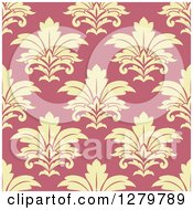 Clipart Of A Seamless Background Design Pattern Of Yellow Damask On Pink Royalty Free Vector Illustration
