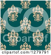 Clipart Of A Seamless Background Design Pattern Of Tan Damask On Turquoise Royalty Free Vector Illustration