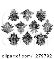 Clipart Of Black And White Arabesque Damask Designs 9 Royalty Free Vector Illustration by Vector Tradition SM