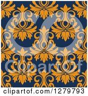 Clipart Of A Seamless Background Design Pattern Of Orange Damask On Navy Blue Royalty Free Vector Illustration
