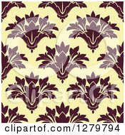 Clipart Of A Seamless Background Design Pattern Of Brown Damask On Yellow Royalty Free Vector Illustration