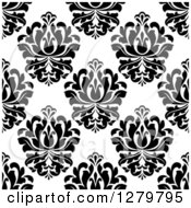 Clipart Of A Seamless Background Design Pattern Of Black And White Damask 3 Royalty Free Vector Illustration