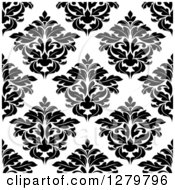 Clipart Of A Seamless Background Design Pattern Of Black And White Damask 4 Royalty Free Vector Illustration