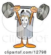 Clipart Picture Of A Garbage Can Mascot Cartoon Character Holding A Heavy Barbell Above His Head by Toons4Biz