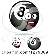 Clipart Of Shiny Billiards Eightballs And A Face Royalty Free Vector Illustration