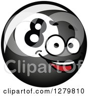Clipart Of A Shiny Billiards Eightball Character Facing Right Royalty Free Vector Illustration