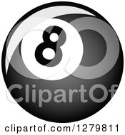 Clipart Of A Grayscale Shiny Billiards Eightball 2 Royalty Free Vector Illustration