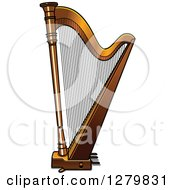 Clipart Of A Brown Harp Royalty Free Vector Illustration