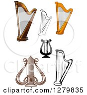 Clipart Of Lyres And Harps Royalty Free Vector Illustration