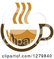 Clipart Of A Brown Tea Cup And Steam 2 Royalty Free Vector Illustration