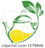 Clipart Of A Green And Yellow Tea Pot With Leaves Royalty Free Vector Illustration