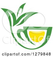 Poster, Art Print Of Green And Yellow Tea Cup With Leaves 7