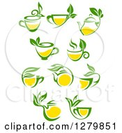 Poster, Art Print Of Green And Yellow Tea Cups And Pots With Leaves