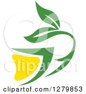 Poster, Art Print Of Green And Yellow Tea Cup With Leaves 6