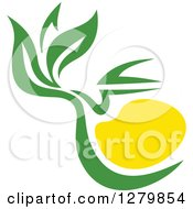 Poster, Art Print Of Green And Yellow Tea Pot With Leaves 3