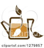 Leafy Brown Tea Pot 10
