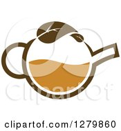 Clipart Of A Brown Tea Pot With A Leaf Royalty Free Vector Illustration by Vector Tradition SM