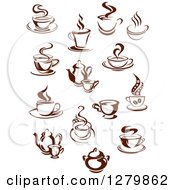 Clipart Of Dark Brown And White Steamy Coffee Cups And Pots Royalty Free Vector Illustration