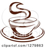 Clipart Of A Dark Brown And White Steamy Coffee Cup On A Saucer 8 Royalty Free Vector Illustration