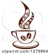 Clipart Of A Dark Brown And White Steamy Coffee Cup With Beans And A Saucer Royalty Free Vector Illustration