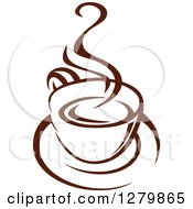 Clipart Of A Dark Brown And White Steamy Coffee Cup On A Saucer 13 Royalty Free Vector Illustration