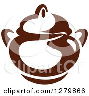 Clipart Of A Dark Brown And White Coffee Pot Or Sugar Bowl Royalty Free Vector Illustration