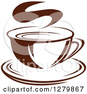 Clipart Of A Dark Brown And White Steamy Coffee Cup On A Saucer 14 Royalty Free Vector Illustration