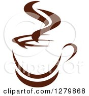 Clipart Of A Dark Brown And White Steamy Coffee Cup 51 Royalty Free Vector Illustration