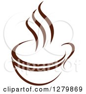 Clipart Of A Dark Brown And White Steamy Coffee Cup 52 Royalty Free Vector Illustration