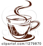 Clipart Of A Dark Brown And White Steamy Coffee Cup On A Saucer 9 Royalty Free Vector Illustration