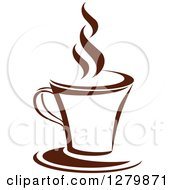 Clipart Of A Dark Brown And White Steamy Coffee Cup On A Saucer 10 Royalty Free Vector Illustration