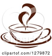 Clipart Of A Dark Brown And White Steamy Coffee Cup On A Saucer 11 Royalty Free Vector Illustration