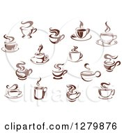 Clipart Of Dark Brown And White Steamy Coffee Cups Some With Saucers Royalty Free Vector Illustration