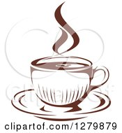 Clipart Of A Dark Brown And White Steamy Coffee Cup On A Saucer 3 Royalty Free Vector Illustration