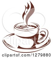 Clipart Of A Dark Brown And White Steamy Coffee Cup On A Saucer 4 Royalty Free Vector Illustration