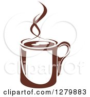 Clipart Of A Dark Brown And White Steamy Coffee Cup 49 Royalty Free Vector Illustration