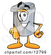 Clipart Picture Of A Garbage Can Mascot Cartoon Character Pointing At The Viewer by Toons4Biz
