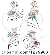 Clipart Of Sketched Brides With Pink And Red Flowers Royalty Free Vector Illustration