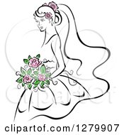 Clipart Of A Sketched Bride With Pink Flowers In Her Hair And Bouquet Royalty Free Vector Illustration