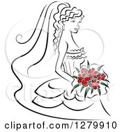 Clipart Of A Sketched Black And White Bride With Red Flowers In Her Bouquet Royalty Free Vector Illustration by Vector Tradition SM