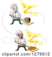 Clipart Of Happy Cartoon Male Chefs Holding Fresh Hot Breads On Peels 2 Royalty Free Vector Illustration