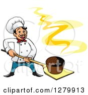 Clipart Of A Happy Cartoon Male Chef With A Fresh Hot Rye Bread On A Peel Royalty Free Vector Illustration