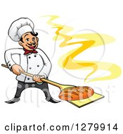 Clipart Of A Happy Cartoon Male Chef With A Fresh Hot Bread Loaf On A Peel Royalty Free Vector Illustration